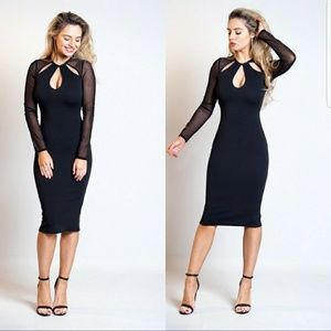 Dresses & Skirts - Tyra Black Mesh Insert Bodycon